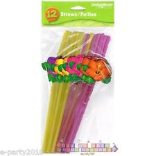 HAWAIIAN LUAU Hibiscus PLASTIC STRAWS (12) ~ Birthday Party Supplies Drinking