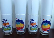 """Set of 4 Vintage Diet Pepsi Glasses, """"Uh Huh, You Got The Right One Baby"""""""