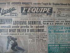 SKI CHAMPIONNE DU MONDE GEANT LUCIENNE SCHMITH BOXE PRATESI BINI L'EQUIPE 1954