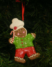 CLAYDOUGH GINGERBREAD MAN IN BAKER'S HAT CHRISTMAS TREE ORNAMENT