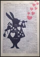 White Rabbit Picture Vintage Dictionary Print Wall Art Alice In Wonderland Heart