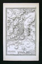 1850 Starling Map - Land of Moriah & Jerusalem - Israel Old Testament Bible