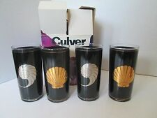 ORIG BOX SET 4 Culver USA 15oz Tall Tumblers Barware VALENCIA SEA SHELLS Black