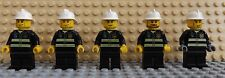 5 LEGO Mini Figures Fireman Firefighter Chief Fire Station Officer City Set