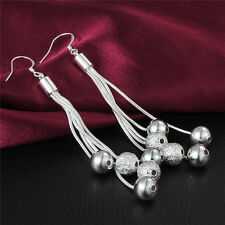 HOT Plated 925 Silver Long chain Line Ball Dangle Earrings Studs HQ