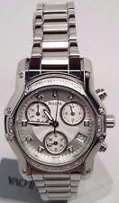 Bulova 23 Diamonds Chronograph Silver Women's Dress Watch 96R138 8 Links Missing