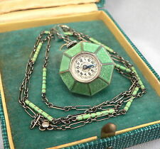 Vintage ART DECO STERLING SILVER Green ENAMEL Pendant Ball WATCH Chain Necklace
