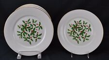 Oxford Lenox Presidential Holly White Gold Trim Set of 4 Dinner Plates Special