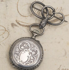 Antique 1900s Solid SILVER Lady Pocket Watch with SILVER SNAKE BROOCH