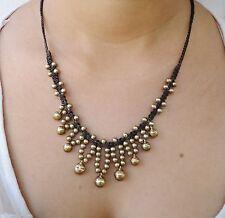 Comercio Justo Latón Jingle Bell Con cuentas Collar Colgante de Algodón encerado joyas de Tailandia