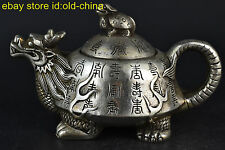 China Rare Collectible Old Copper Silver Plate Handwork Dragon Turtle Lid Teapot