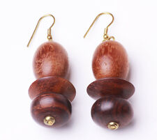 ETHNIC UNIQUE TRIBAL INSPIRED BROWN BEADED WOODEN DROP EARRINGS (ZX19)