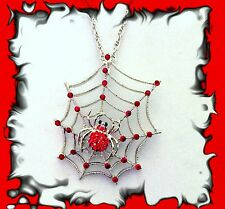 BIG RED RHINESTONE CRYSTAL SPIDER WEB SILVER HALLOWEEN GOTHIC NECKLACE PENDANT