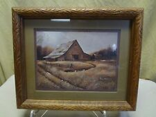 Retired Home Interiors 1982  Rustic Old Barn Print Signed Ruane Manning 11.5x9.5