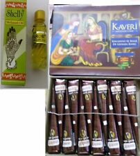 6 Kaveri Natural Henna Cones TM Tattoo kit + Mehndi oil free for good result FRE