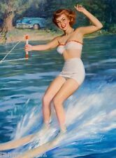 1940s Pin-Up Let's Water Ski! Picture Poster Print Art Pin Up