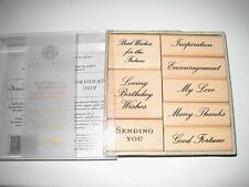 ANNA GRIFFIN WOOD MOUNT RUBBER STAMPING SET: 8 SENTIMENTS IN BOX: SENDING YOU