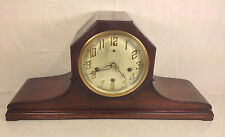 Antique New Haven Tambour Mantel Clock Runs Strikes Chimes Mahogany Case Oct Top