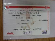11/12/2004 Ticket: Rotherham United v Sheffield United (Press Box). Thank you fo