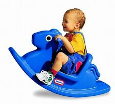 Classic Rocking Rock Horse Pony Ride Baby Toddler Toy Blue Play Rocker Smooth