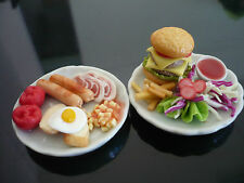 Breakfast and Hamburger on Plates Dollhouse Miniatures Food Supply Deco Barbie