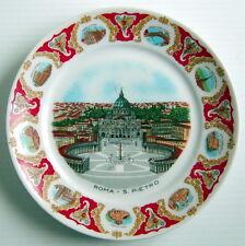 VINTAGE RELIGIOUS PLATE, ROMA - S. PIETRO, BORDER WHIT DIFFERENT CHURCHES & NAME