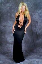 Plunging Back Split Black Lace-up Gown/Exotic Dancer/Model/Made in USA/Sm-Med