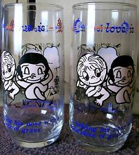 "Two identical ""Love Is- Tickling hia nose with a long piece of grass"" tumblers"