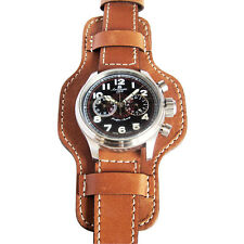 20mm Fluco Bund Mens German Made Tan Leather Military Cuff Watch Band Strap