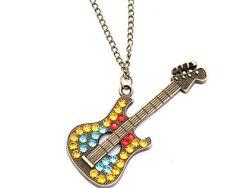 XXL Gitarren Kette Halskette mit Strass Goldfarben 66cm  Neu 175
