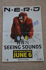 Pharrell williams signed autographe en personne N.E.R.D. poster Happy extrêmement rar!!!