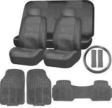 SOLID Dark Gray PU LEATHER SEAT COVERS & 3PC RUBBER FLOOR MATS SET FOR SUVS 3656