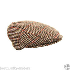 NEW MENS BOYS KIDS GIRLS WOMEN TWEED HERRINGBONE FLAT CAP IN THREE COLOURS