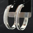 Hot Sale 6pairs Silver p Women Frosted Hoop Earrings Wholesale Fashion Jewelry