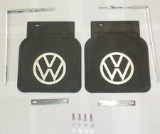 MUD FLAP KIT PAIR COLOR BLACK WITH WHITE VW LOGO FITS VOLKSWAGEN ALL TYPE1 BUG
