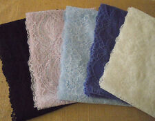 """Lot 10 Yards 7"""" Wide Stretch Lace Ivory, Black, Lilac, Baby Blue, Violet h93"""