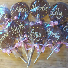 Personalised Belgian chocolate Lollipops Lolly Lollies, party Favours Party bag