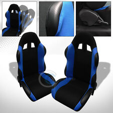 2X UNIVERSAL TS BLK/BLUE CLOTH LEATHER RECLINABLE RACING BUCKET SEATS+SLIDER C13