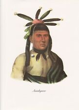 """1972 Vintage Full Color Art Plate """"MENOMINEE CHIEF AMISKQUEW"""" NATIVE INDIAN Lith"""