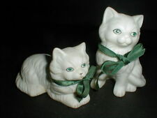 2 Matte White Porcelain Green Eyed Kitten Cat Figurines w Ribbons  CUTE