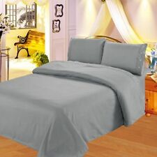 QUEEN SOLID GREY SHEET  SET MICROFIBER FLATE FITTED  PILLOW CASES