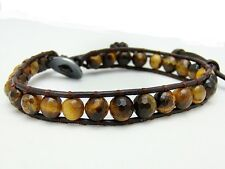 Men's Wrap Bracelet  all 6mm TIGER EYE stone  beads leather  fashion bracelet