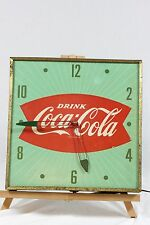 Vintage Coca Cola Square Green Fish Tail Wall Clock Pam Part or Repair