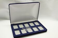 Velvet Display Box for 10 Silver 1 oz Bars with QTY=10 Airtite Holder Capsules