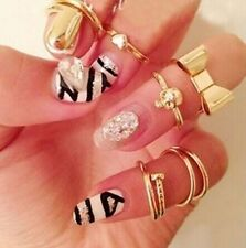 New 7Pcs/Set Gold Skull Stack Plain Cute Above Knuckle Ring Band Midi Ring