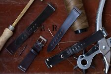 20mm Dark Brown Shell Cordovan Leather Watch Strap Band Handmade In Italy