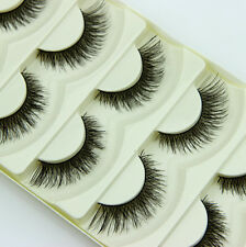 5 Paar Natural Kreuz falsche Wimpern Kosmetik Dick Handmade False Eyelashes DODE
