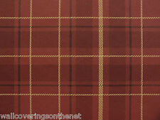 Brick Red, Charcoal & Beige, Tartan Style Wallpaper