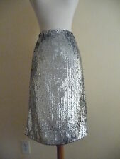 NEW J.CREW SILVER SEQUIN SKIRT, F9233, SIZE 4, GRAY $148