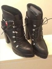 Zara Black Leather Military Boots Size 9